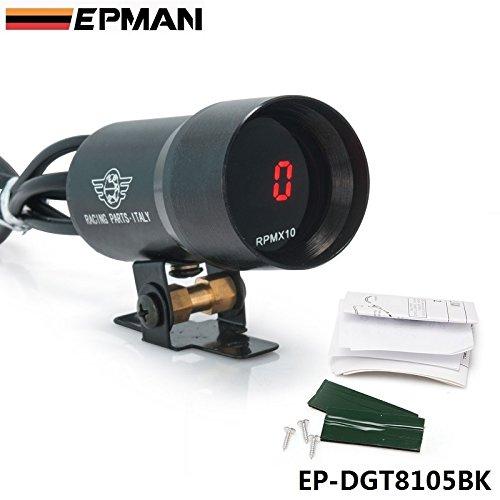 EPMAN 37mm Smoke Tach RPM Tachometer Red Digital Shift Light Style Gauge Pod Black EP-DGT8105BK