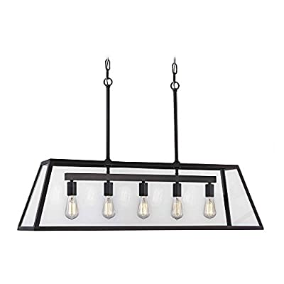 Industrial Linear Chandelier with Tapered Rectangle Glass 5-Light