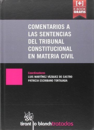 Descargar Libro Comentarios A Las Sentencias Del Tribunal Constitucional En Materia Civil María Paz Sánchez González