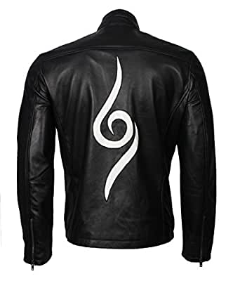 "Mens Black Printed New Style Genuine Leather Jacket (5XL - to fit chest 54-55"")"