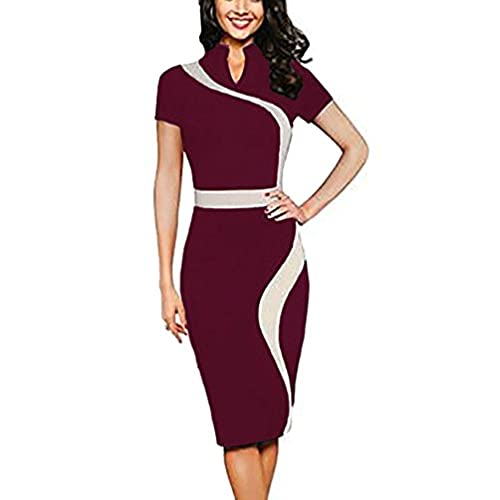 REPHYLLIS Women Elegant Wear To Work Casual Cocktail Evening Party Summer Business Pencil Dress Burgundy S