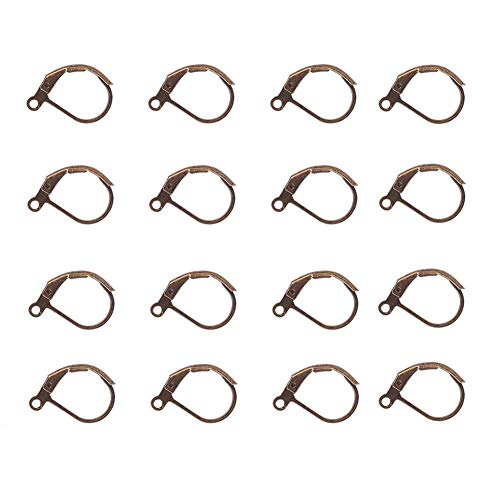 Bezall 100Pcs Brass Lever Back Hoop Earring French Hook Ear Wire with Open Loop for Jewelry Making (Antique Bronze) (Bronze Leverback Earring Hooks)