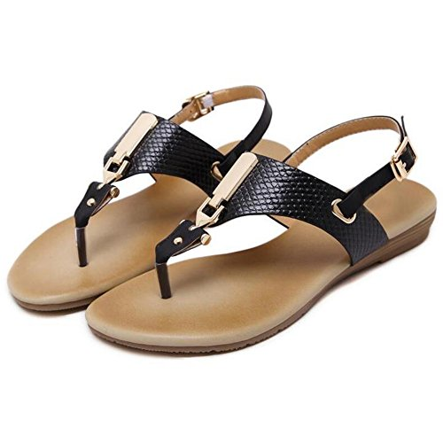 simple piso estudiante pie hebilla Zapatillas de inferior UK3 dedo Roma EU36 sandalias opcional playa tacón Negro de sandalias Negro Color Tamaño tamaño XIAOLIN CN35 metal de plano de del 5 vqUwtXnw