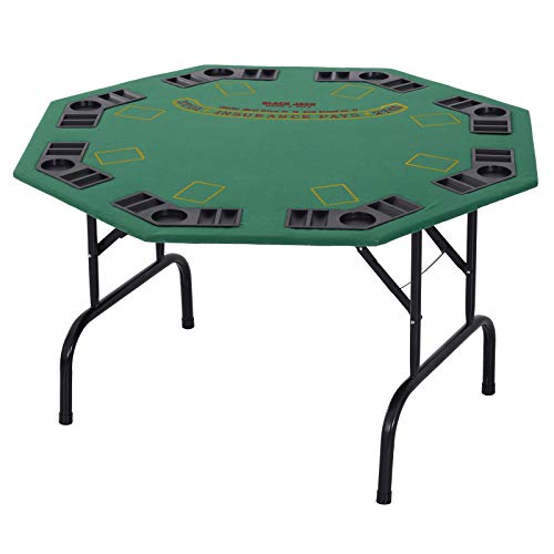 Soozier 48″ 8 Person Octagonal Foldable Poker Table with Cup Holders