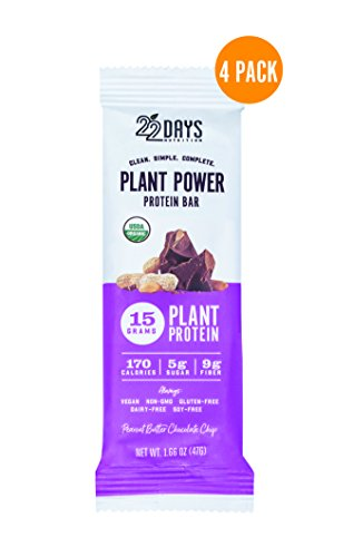 22 Days Nutrition Organic Protein Bar, Peanut Butter Chocolate Chip, 4 Count | Plant Based Protein Bars, Gluten Free, Vegan, Soy Free, Real Food, Dairy Free, 15g Protein, Low Sugar (5g), Fiber (9g)