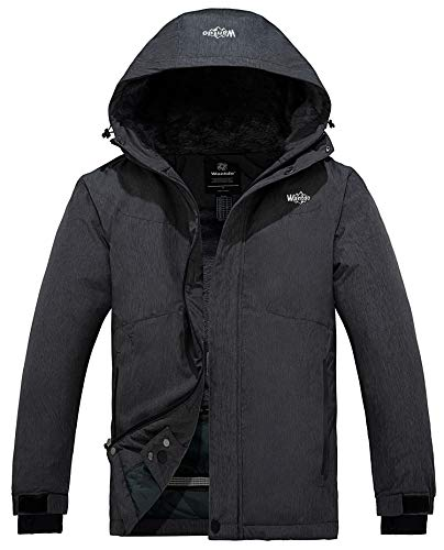 Wantdo Men's Mountain Ski Jacket Short Parka Winter Anorak Daily Wear Grey S