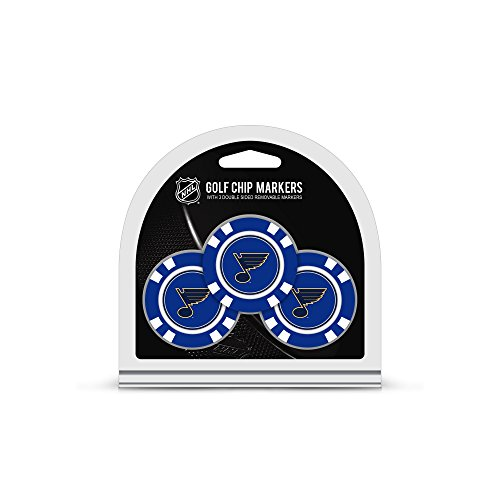 Team Golf NHL St Louis Blues Golf Chip Ball Markers (3 Count), Poker Chip Size with Pop Out Smaller Double-Sided Enamel ()