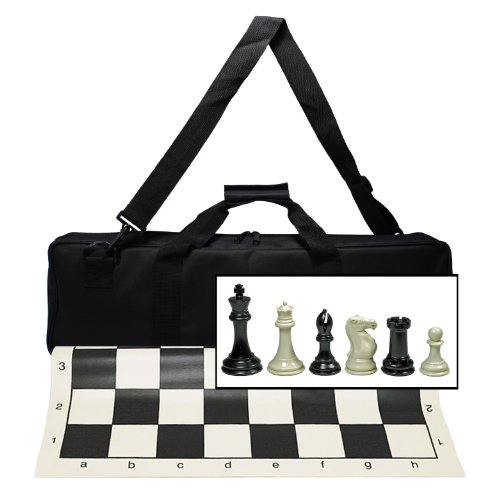 Chess Set with New Silicone Chess Mat, Canvas Bag and Super Triple Weighted Chessmen with 4