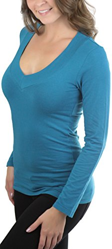Larga Mujer Manga De Para Pico Cuello Tobeinstyle Verde Camiseta Azulado xq1tOHwOW0