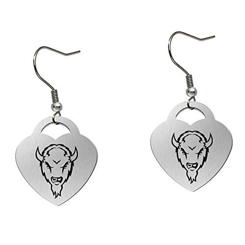 (Marshall Thundering Herd Satin Finish Large Stainless Steel Heart Charm Earrings - See Model for Size)