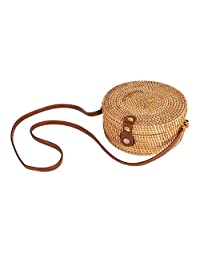 Handwoven Round Rattan Bag Shoulder Leather Straps Natural Chic Circle Handbag