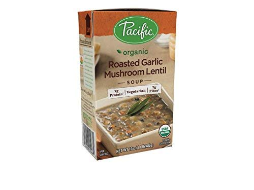 Curried Red Lentil Soup - Pacific Foods Organic Roasted Garlic Mushroom Lentil Soup, 17 Ounce Cartons, 12-Pack