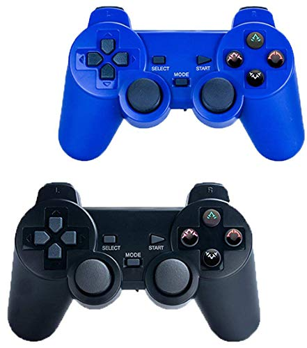 Saloke Wireless Gaming Controller for Ps2 Double Shock (Black and 1Blue)