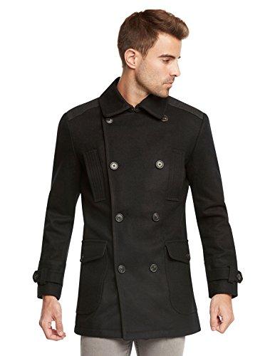 Jack & Jones Men's EURO Slim Fit Wool Peacoat Jacket by Jones Black-Medium