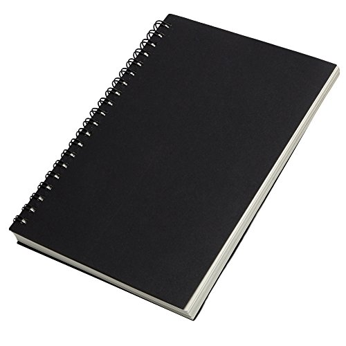 Mexud Sketch Book Blank Notebook Kraft Sketching Paper With Reeves Retro Spiral Bound Coil For Sketchbooks  Cover Black Cover  Paper Whitepage