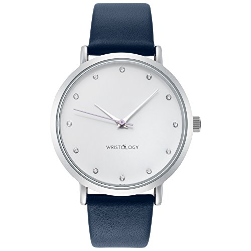 Silver Leather Blue - WRISTOLOGY Olivia Womens Chunky Silver Boyfriend Watch Navy Blue Leather Strap