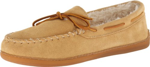 Minnetonka Men's Pile Lined Hardsole, Tan Suede, 14 M US