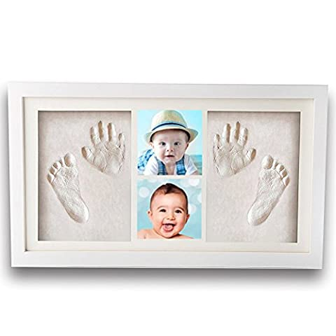 Premium Newborn Baby Hand Print and Footprint Photo Frame Kit - Cool & Unique Baby Shower Gifts for Registry, Memorable Keepsakes Decorations , Christening Gift, Toddlers Birthday (The Dazzle Picture Frames)