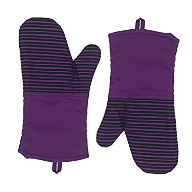 L.A. Sweet Home Silicone Striped Cooking Gloves (1 Pair) – Flame & Heat Resistant Pot Holders for Kitchen Oven, BBQ Grill and Fire Pits – Ideal for Cooking, Baking, Grilling Non-Slip Grip(A06 Purple)