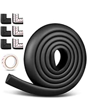 Sensyne Corner Edge Protector Set, Baby Proofing Furniture Bumpers, Child Safety Table Corner Edge Guards with High-Resistant Adhesive Tapes, 6 Corners & 19.6FT Edge Cushions, Black
