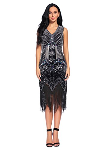 Flapper Girl 1920s Gastby Sequin Art Embellished Fringed Flapper Dress (XS, Black) (Flapper Girls Dresses)