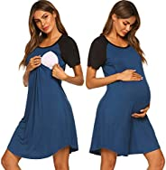 Ekouaer 3 in 1 Nursing Nightgowns for Breastfeeding Delivery Labor Maternity Hospital Gown with Both Side Zipp