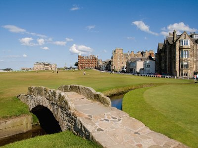 Golfing the Swilcan Bridge on the 18th Hole, St Andrews Golf Course, Scotland Photographic Poster Print by Bill Bachmann, 18x24