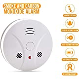 Combination Photoelectric Smoke Alarm and Carbon Monoxide Detector, Protect Your Home from Fire and Gas Leaks, Even When You're Away, 9V Battery Operated