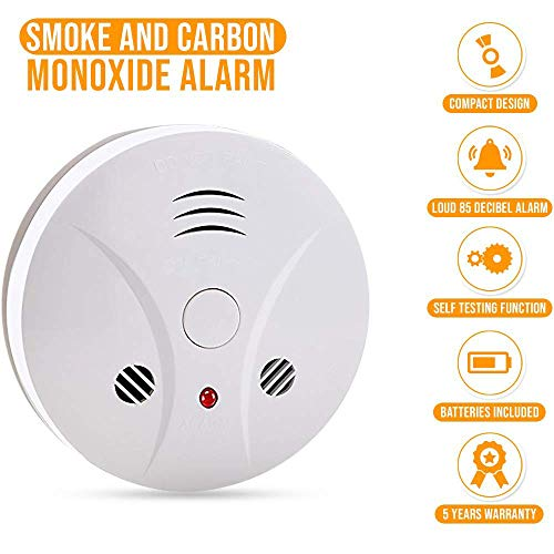 Combination Photoelectric Smoke Alarm and Carbon Monoxide Detector, Protect Your Home from Fire and Gas Leaks, Even When You're Away, 9V Battery Operated (One Pack) ()