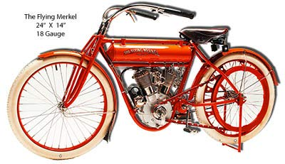 Flying Merkel Motorcycle Cut Out Reproduction Metal Sign 14x24 -