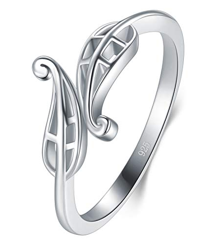 BORUO 925 Sterling Silver Ring, HighPolish Filigree Leaf Resistant Comfort Fit Wedding Band Ring Size 6