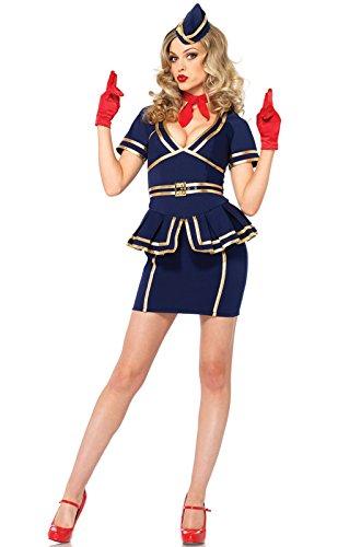 Stewardess Halloween Costumes (Leg Avenue Women's 3 Piece Friendly Skies Flight Attendant, Blue,)