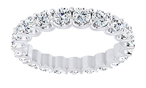AFFY Round Cut White Moissanite Full Eternity Band Ring In 14K Solid White Gold, Ring (Solid Gold Moissanite Ring)
