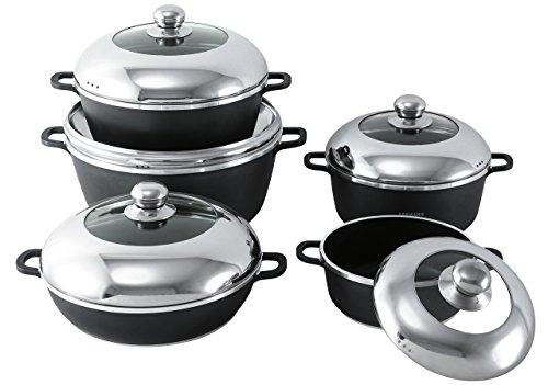 Cast Aluminum Cookware Set (Major-Q 10 Piece Large Seemann Quality Nonstick Die-Cast Pots Kitchen Cookware with Stainless Lids ,  Black)