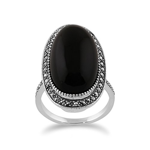 Gemondo Art Deco Style Ring, Sterling Silver 19.33ct Black Onyx & Marcasite Oval Cocktail Style Ring