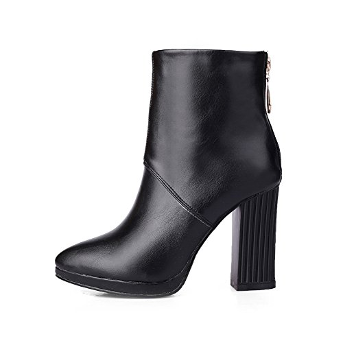 Leather Heels Boots Round Toe Chunky Ladies Imitated 1TO9 Zipper Back Black wqx8EnPzH