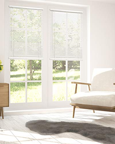 "Chicology Horizontal Venetian Slat Window Shade Cordless 1-Inch Mini Blinds 36""W X 64""H Gloss White (Commercial Grade)"