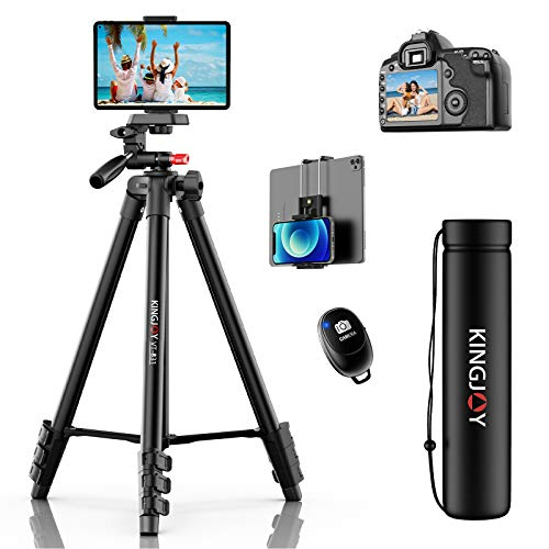 KINGJOY Phone Tripod 53 inches, Aluminum Travel/Camera/Mobile Phone Tripod with Carrying Bag with a Maximum Load of 6.6…