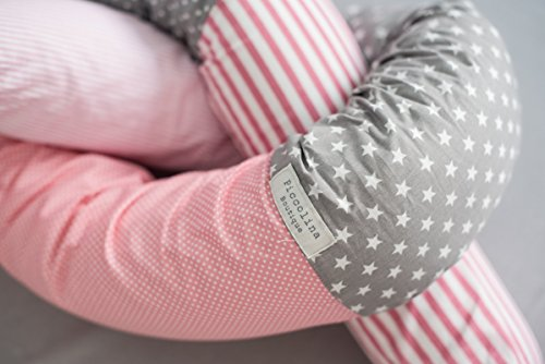 2 BABY ''SNAKE'' BED BUMPER FOR CRIB OR JUNIOR BEDS-Pink & Grey,bed bumper,nursery bedding,nursery décor , covers all the baby crib !!! by Piccolina Boutique