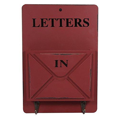 Yosoo Wooden Mail Box Letter Rack Wall Mounted Mail Sorter Storage Box Key Hooks Standing Holder Organizer Hallway Doorway Hanging Basket Vintage Home Decoration (Dark Red)