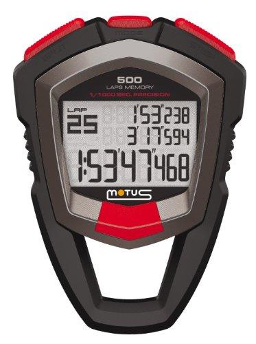 Motus Millennium MT68 stopwatch met meting van 500 tijden (rond/tussentijd) en met 1/1000 seconde nauwkeurigheid zwart