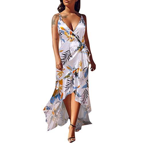 Rambling New Women's Sexy Warp Deep V Neck Sleeveless Backless Floral Print Split Maxi Party Dress (Pleated Deep Souffle Dish)