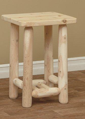 White Cedar Rustic Adirondack End Table (Adirondack Rustic Log Furniture)