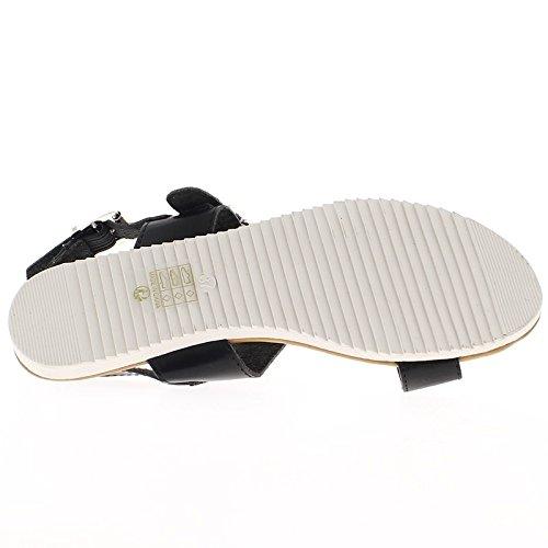 Flache Schwarze Sandalen mit breiten Flanschen