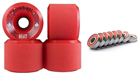Fireball Beast Red 76mm 84a Longboard Skateboard Wheels (Set of 4 Wheels) WITH BEARINGS