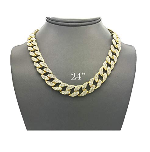 "Mens Iced Out Hip Hop Gold tone CZ Miami Cuban Link Chain Choker Necklace (24"")"