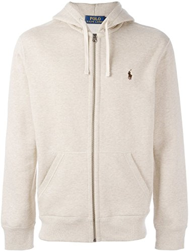 Polo Ralph Lauren Men's Cotton Blend Full Zip Fleece Hoodie, Almond Heather, Large (Cotton Blend Zip Sweatshirt)