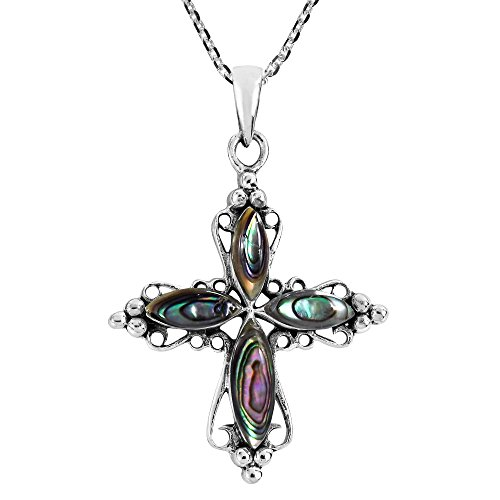 AeraVida Elegant Swirling Cross with Abalone Shell Inlay .925 Sterling Silver Pendant Necklace