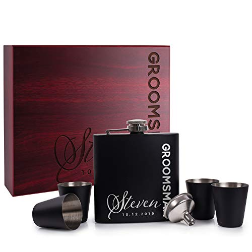 - Personalized Flask For Wedding Groomsmen Gift, Customized Flask Set FREE Personalization - Laser Engraved - Design -6 (Rosewood, 6)