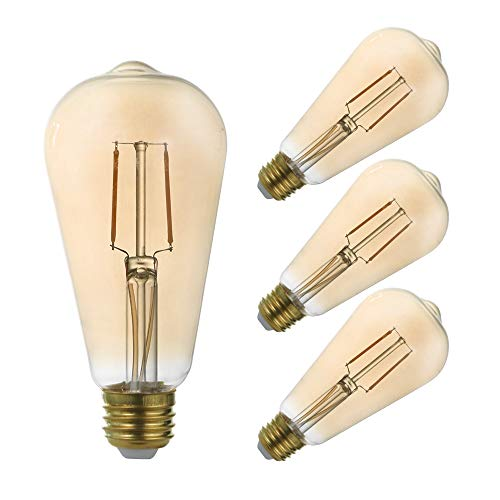 GMY Edison LED Light Bulb 2.5W, 20W Incandescent Equivalent, ST21 Vintage LED Filament Bulb, 120V E26 2200K Amber Warm White- 4Pack